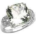 Malaika Sterling Silver Green Amethyst and Diamond Accent Ring