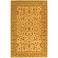 Handmade Antiquities Treasure Ivory/ Brown Wool Rug (5&#39; x 8&#39;)