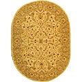 Handmade Treasure Ivory/ Brown Wool Rug (7'6 x 9'6 Oval)