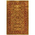 Handmade Taj Mahal Green/ Rust Wool Rug (4&#39; x 6&#39;)