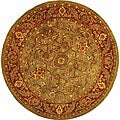 Handmade Taj Mahal Green/ Rust Wool Rug (6&#39; Round)