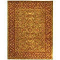 Handmade Taj Mahal Green/ Rust Wool Rug (6&#39; x 9&#39;)