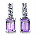 Malaika Sterling Silver Amethyst Tanzanite Earrings