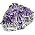Malaika Sterling Silver and Amethyst Floral Ring