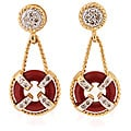 Michael Valitutti 14k Gold Red Coral and Diamond Earrings