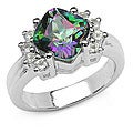 Malaika Sterling Silver Genuine Mystic and White Topaz Ring (Size 7)
