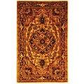 Handmade Classic Heriz Gold/ Red Wool Rug (3' x 5')