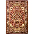 Handmade Classic Heriz Red/ Navy Wool Rug (9'6 x 13'6)