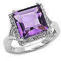 Malaika Sterling Silver Genuine Amethyst Ring