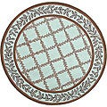 Hand-hooked Trellis Turquoise Blue/ Brown Wool Rug (5&#39;6 Round)