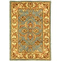 Handmade Heritage Kermansha Blue/ Beige Wool Rug (2&#39; x 3&#39;)