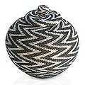&#39;Night Thunder&#39; Beaded Rattan Basket (Indonesia)