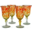 Set of 4 Blown Glass &#39;Sun Celebration&#39; Goblets (Mexico)