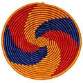 Large Red/ Blue/ Orange Swirl-design Coil Basket (Uganda)