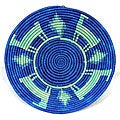 Two-tone Blue Animal Pictorial Coil Basket (Uganda)