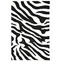 Handmade Soho Zebra Wave White/ Black N. Z. Wool Rug (5&#39; x 8&#39;)