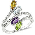 14k Gold Multi-gemstone and 1/5ct TDW Diamond Ring (H-I, I1-I2)