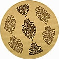 Indoor/ Outdoor St. Martin Natural/ Brown Rug (5'3 Round)