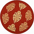 Indoor/ Outdoor St. Martin Red/ Natural Rug (5&#39;3 Round)