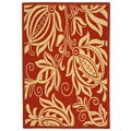 Indoor/ Outdoor Andros Red/ Natural Rug (4' x 5'7)