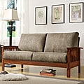 ETHAN HOME Hills Mission-style Oak and Olive Sofa