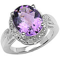 Malaika Sterling Silver Amethyst and Diamond Accent Ring