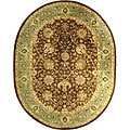 Handmade Mashad Brown/ Green Wool Rug (7'6 x 9'6 Oval)