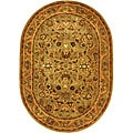 Handmade Antiquities Kasadan Olive Green Wool Rug (4'6 x 6'6 Oval)