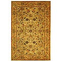 Handmade Antiquities Kasadan Olive Green Wool Rug (5' x 8')