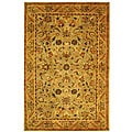 Handmade Antique Kasadan Olive Green Wool Rug (5' x 8')