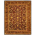 Handmade Exquisite Wine/ Gold Wool Rug (9'6 x 13'6)