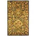 Handmade Tabriz Olive Wool Rug (3' x 5')