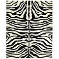 Safavieh Handmade Soho Zebra Print Black/ Ivory N. Z. Wool Rug (5' x 8')