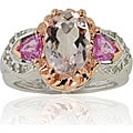 Michael Valitutti 14k Gold Morganite, Sapphire, 1/6ct TDW Diamond Ring
