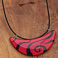 Fused Glass Red Tiger Stripe Crescent Necklace (Chile)