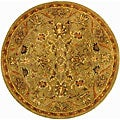 Handmade Antiquities Kasadan Olive Green Wool Rug (8' Round)