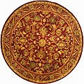 Handmade Exquisite Wine/ Gold Wool Rug (3'6 Round)