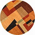 Handmade Rodeo Drive Modern Deco Rust/ Multi N.Z. Wool Rug (8&#39; Round)