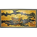 Gold Leaf Silk 'Dragon Boat' Painting (China)