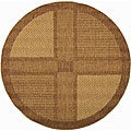 Indoor/ Outdoor Lakeview Brown/ Natural Rug (6'7 Round)