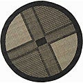 Indoor/ Outdoor Lakeview Black/ Sand Rug (6'7 Round)