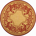 Indoor/ Outdoor Rooster Natural/ Red Rug (5'3 Round)