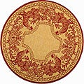 Safavieh Indoor/ Outdoor Rooster Natural/ Red Rug (5'3 Round)