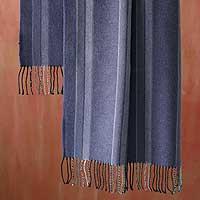 Alpaca 'Diagonal Style' Wool Shawl (Peru)