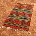 Mexican Zapotec &#39;Rhombus Fire&#39; Wool Rug (2&#39;6 x 5&#39;)