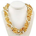 Maddy Emerson Couture Citrine and Pearl Necklace (7-7.5 mm)