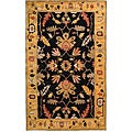 Handmade Arts & Crafts Black/ Gold N.Z. Wool Rug (7' 6
