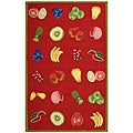 Hand-hooked Fruits Red Wool Rug (6' x 9')