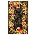 Hand-hooked Parrots Black Wool Rug (6&#39; x 9&#39;)