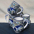 Set of 4 Aque Fish 16-oz Large Mugs (Tunisia)